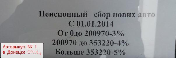 Фото сделано в МРЭО 1 Донецка. Пенсионный сбор при постановке на учет новых автомобилей в Украине